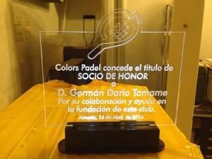 Homenaje a Germán Tamame en Colors Padel