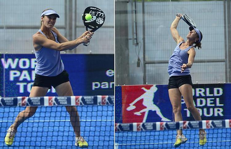 Martina Hingis jugando al pádel