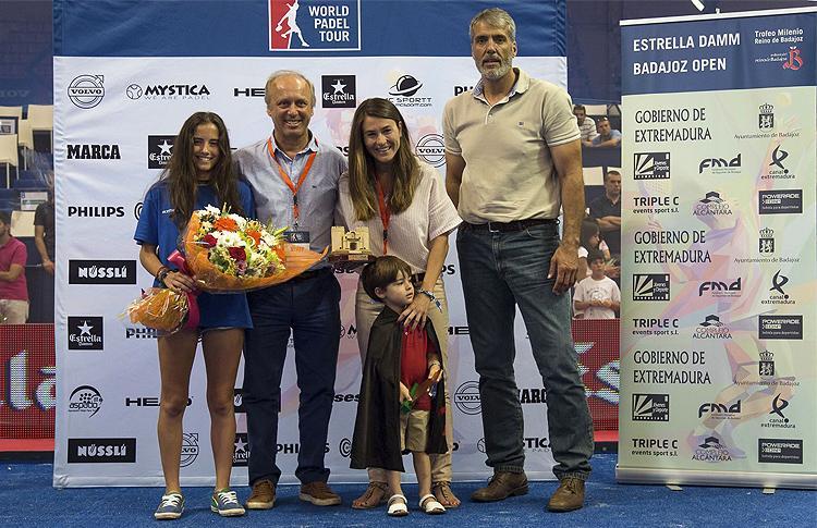 Vanessa Zamora, en su homenaje en el Estrella Damm Badajoz Open