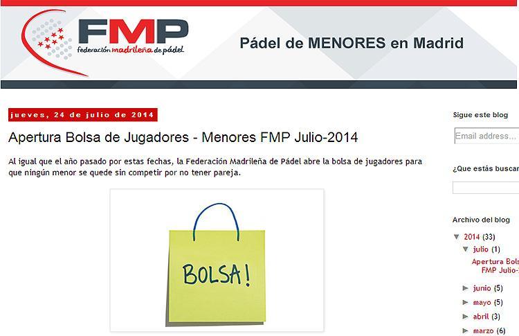 Bolsa de Menores de la Federación Madrileña de Pádel