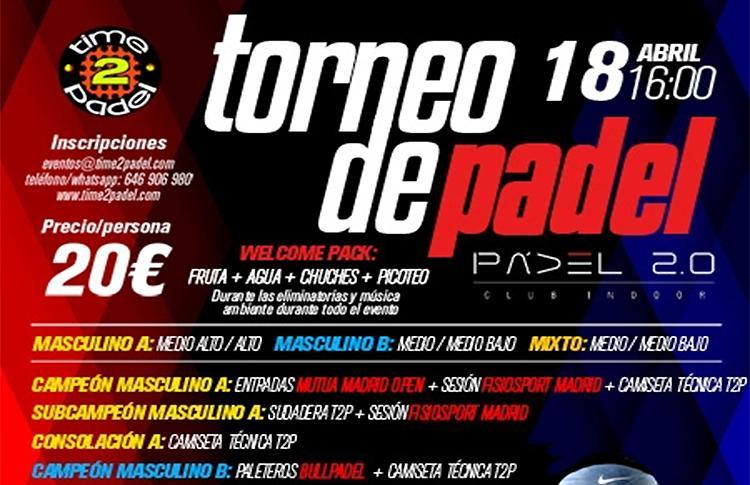 Torneo de Time2Pádel en las pistas de Pádel 2.0