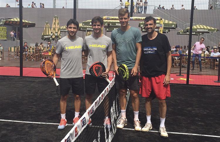 Thomas Berdych, con Sanyo Gutiérrez, Gonzalo Rubio y Sergi Bruguera en el Mutua Madrid Open