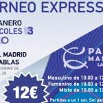 Cartel del Torneo Expréss de Time2Pádel en Pádel Madrid Las Tablas