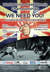 Cartel de búsqueda de jóvenes talentos del pádel en Reino Unido