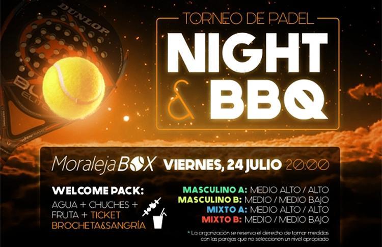 Affiche du tournoi nocturne que Time2Pádel organisera dans Moraleja Box