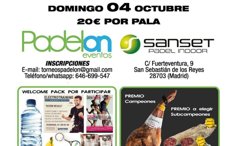 Poster del prossimo torneo che Padelon Events organizzerà a Sanset Pádel