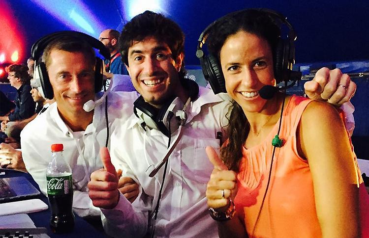 Mauri Andrini, Daniel Dios y Marta Marrero durante la primera retransmisión de World Pádel Tour en inglés
