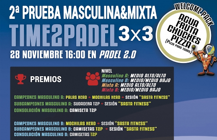 Cartel del segundo torneo del Circuito 3x3 de Time2Pádel