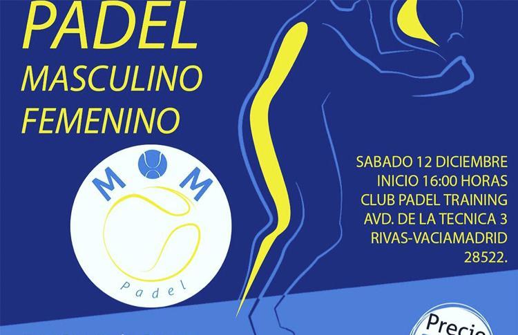 Cartel del Torneo de MOM Pádel en las pistas de Padel Training