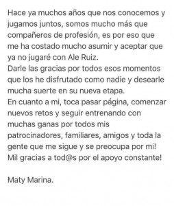 Maty Marina y Álex Ruiz anuncian el punto y final a su aventura