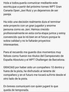 Gonzalo Rubio y Javi Ruiz, otra pareja que se dice adiós