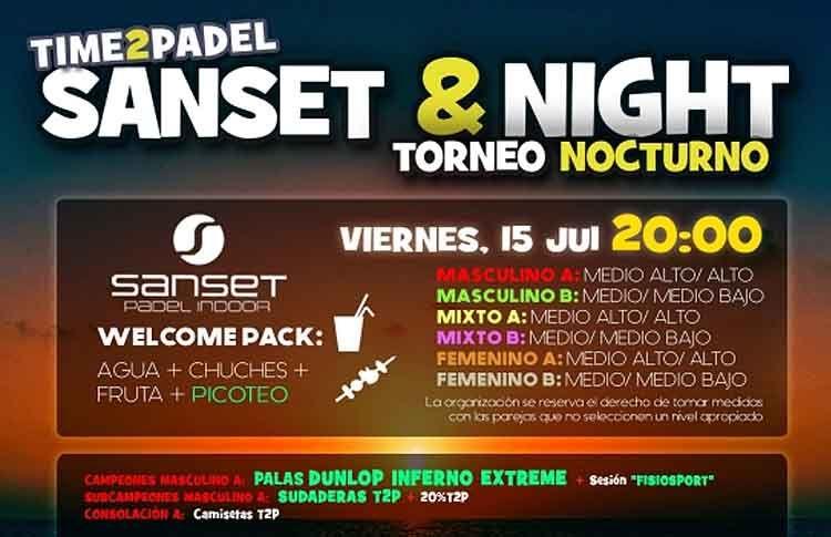 Affiche du Tournoi Time2Pádel sur les pistes de Sanset Padel