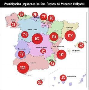 Mapa de Menores que participan en el Campeonato de España de Menores 2016