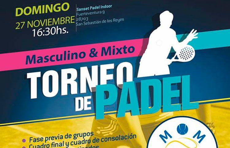 Cartel del torneo de MOM Pádel en Sanset Pádel Indoor