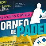 Cartel del Torneo de MOM Pádel en las pistas de Pádel Norte