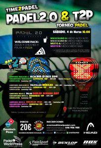 Cartel del próximo torneo de Time2Pádel en las pistas de Pádel 2.0