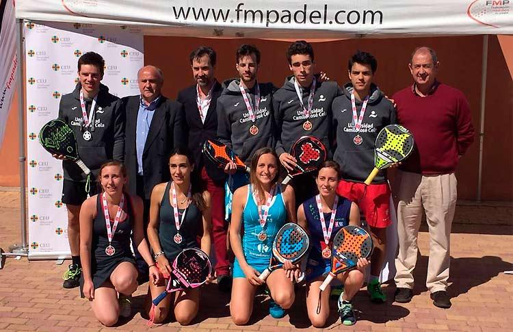 Finalistas del Campeonato Universitario de Pádel de Madrid 2017