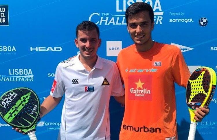 Ale Galán-Juan Cruz Belluati, en acción en el Lisboa Challenger 2017