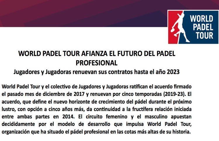 World Padel Tour afianza su proyecto por los próximos 5 años