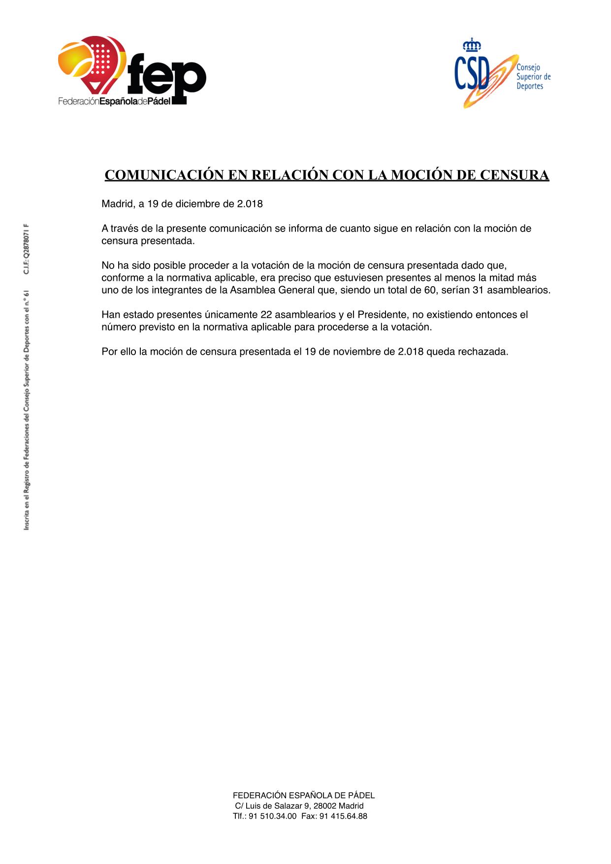 El comunicado de la FEP sobre el fracaso de la moción de censura.