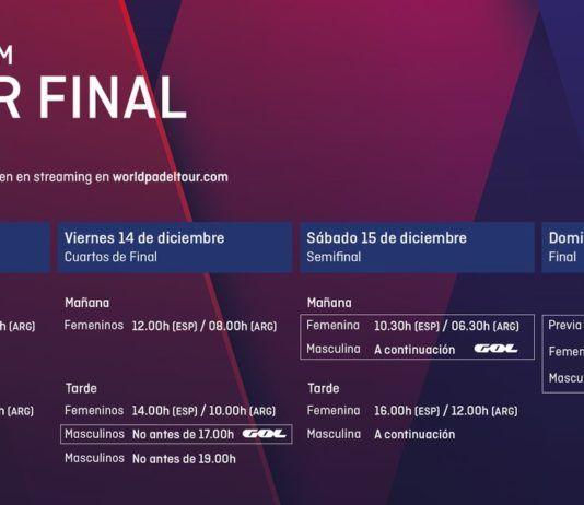 Gli orari del Final Master del World Padel Tour.