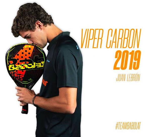 Juan Lebrón junto a la Babolat Viper Carbon 2019.