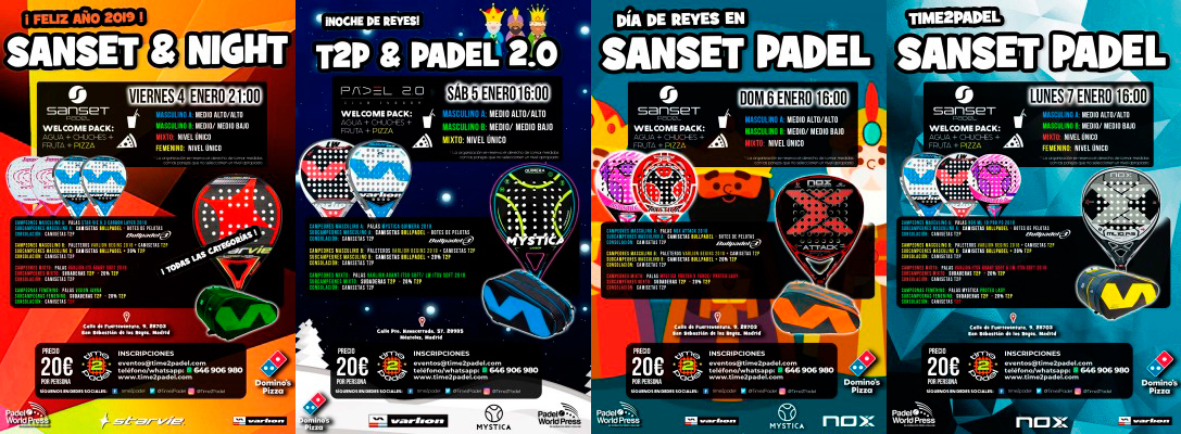 La oferta de Torneos Time2Padel para el primer fin de semana de enero.