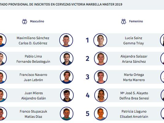 Algunas de las parejas del ranking del World Padel Tour.