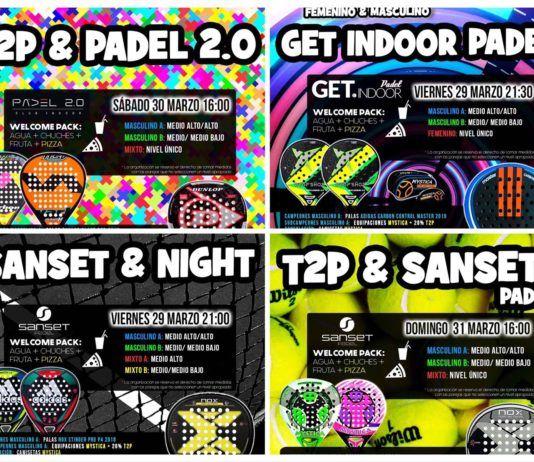 I poster delle informazioni dei tornei Time2Padel per la settimana.