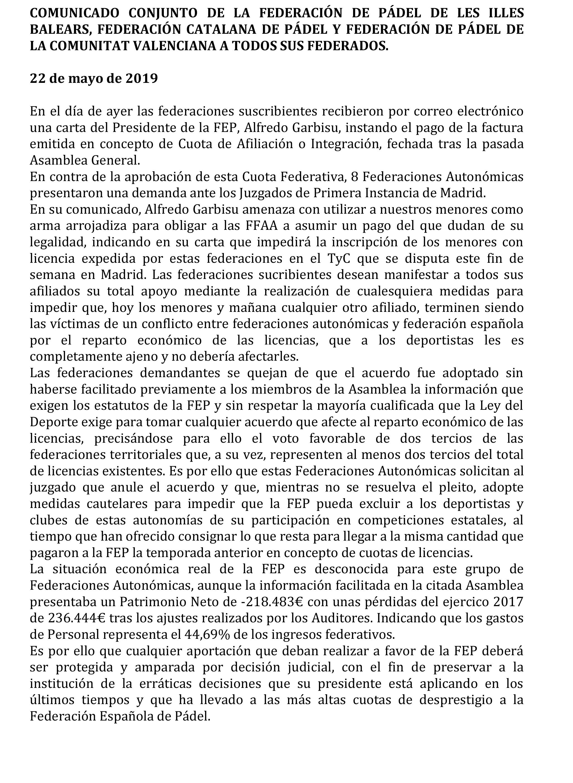 El comunicado Oficial de las Federaciones contra la FEP.