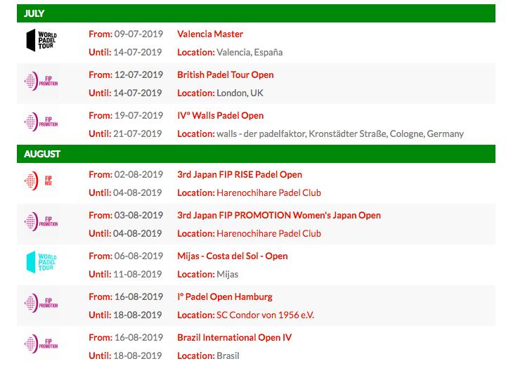 El calendario de julio y agosto del FIP Tour.