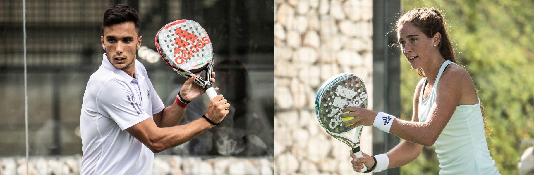 Ale Galán y Marta Ortega con sus nuevas palas Adidas.   Foto: Adidas Padel