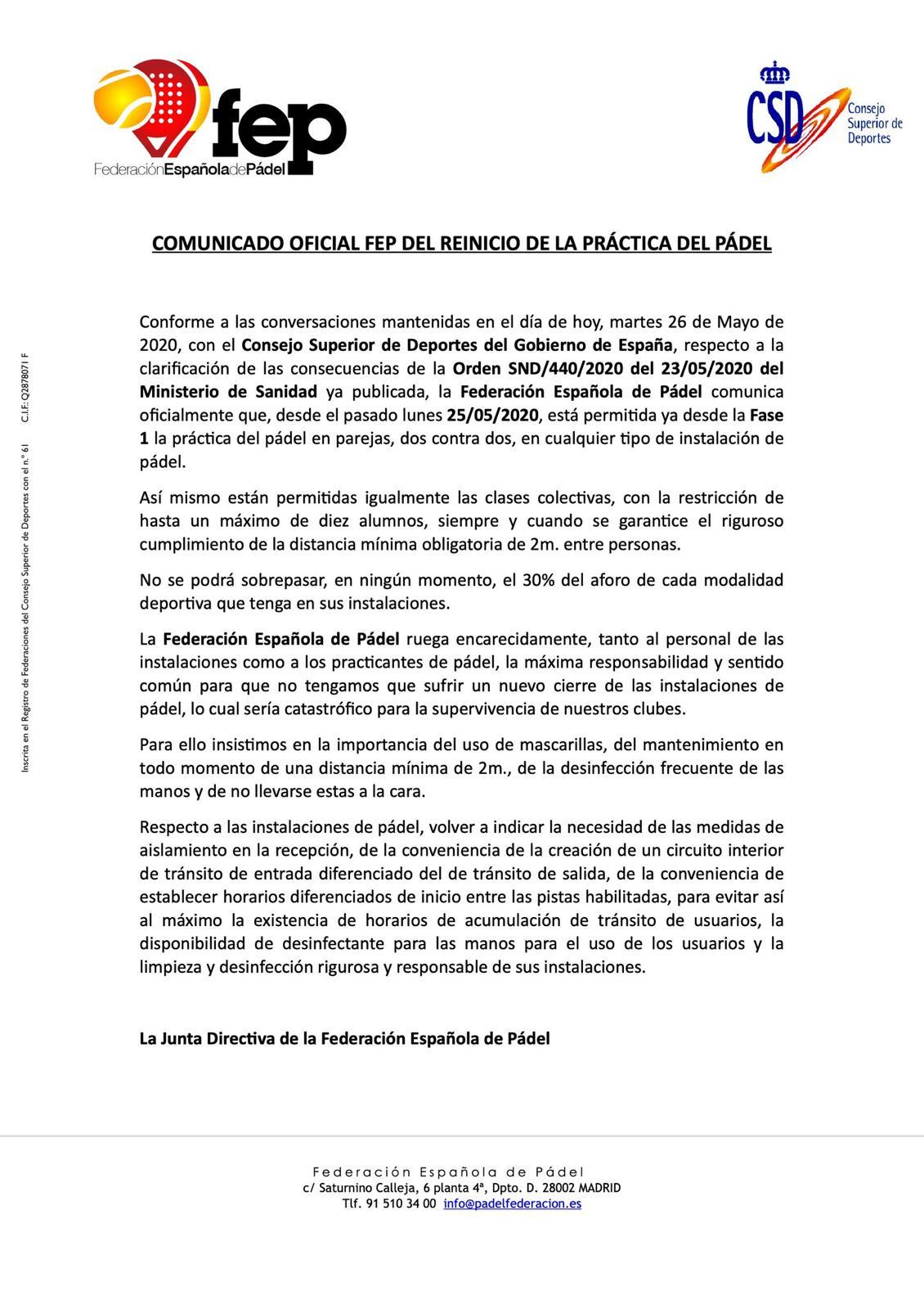 Le communiqué officiel de la FEP. | FEP