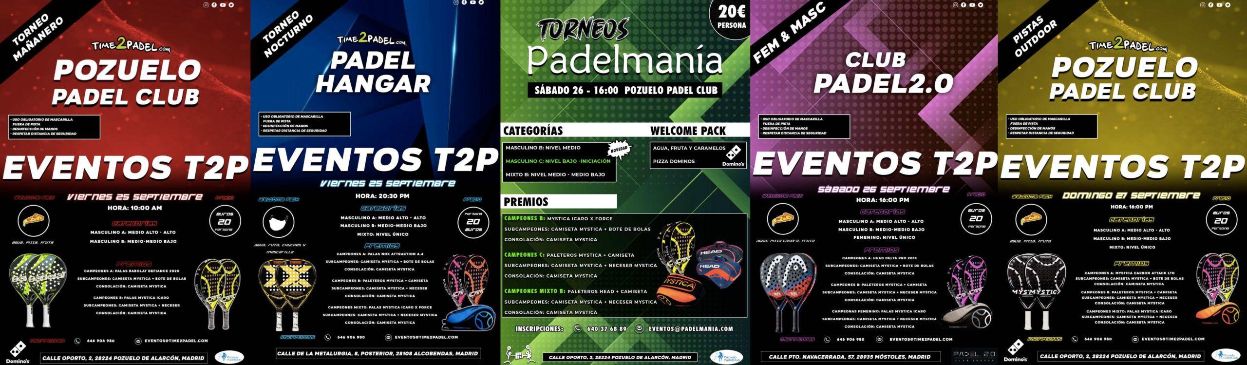 La oferta de Torneos T2P y Torneos Padelmanía.